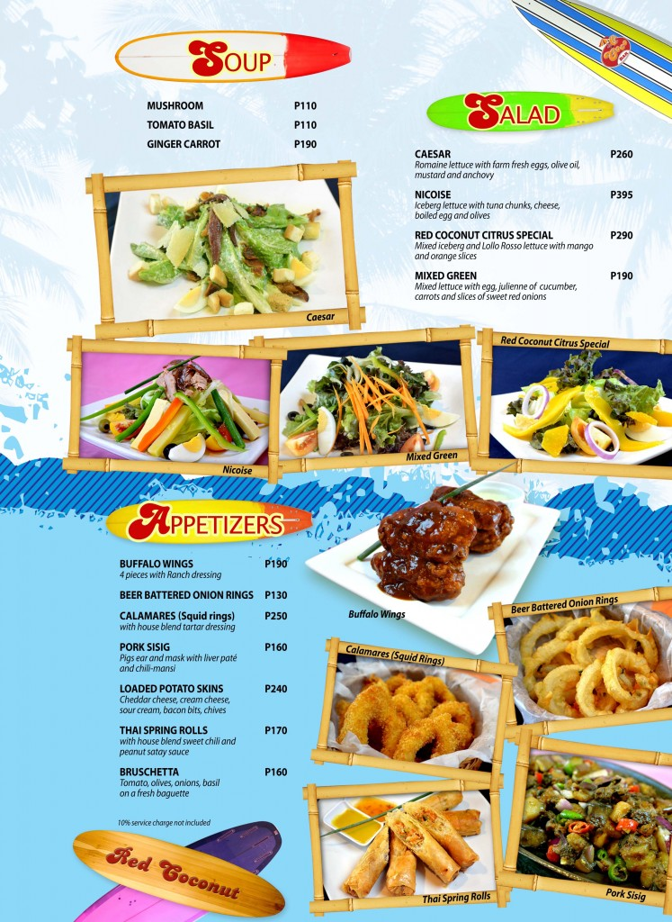 Red Coconut Menu 1