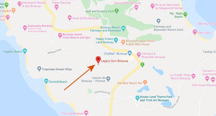 legacy gym boracay google map