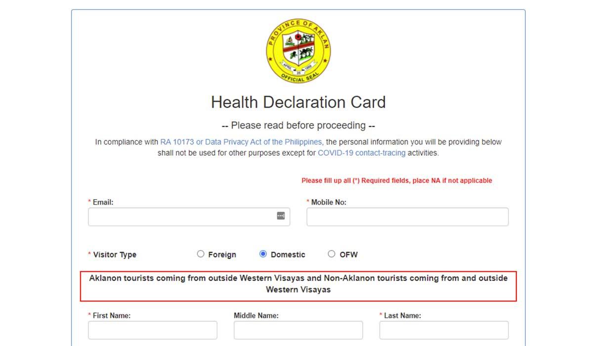 Health Declaration Card